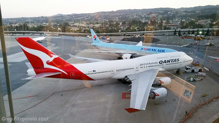 Long-haul Boeings at SFO; Qantas 747-400, Korean 777-300ER.