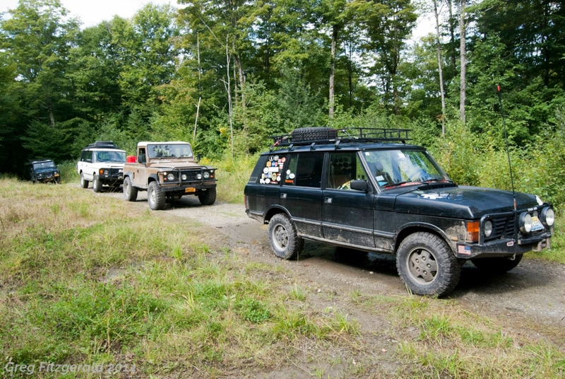 We begin Day 2 on a much better weather note. Of note is that three of the four trucks in this shot once belonged to Tony Brooks; my1993 RRC LWB, Brandon Rabbie's 1984 D90 pickup, and Anthony Nelson's 1997 D90 station wagon. We joked that we should start a club.