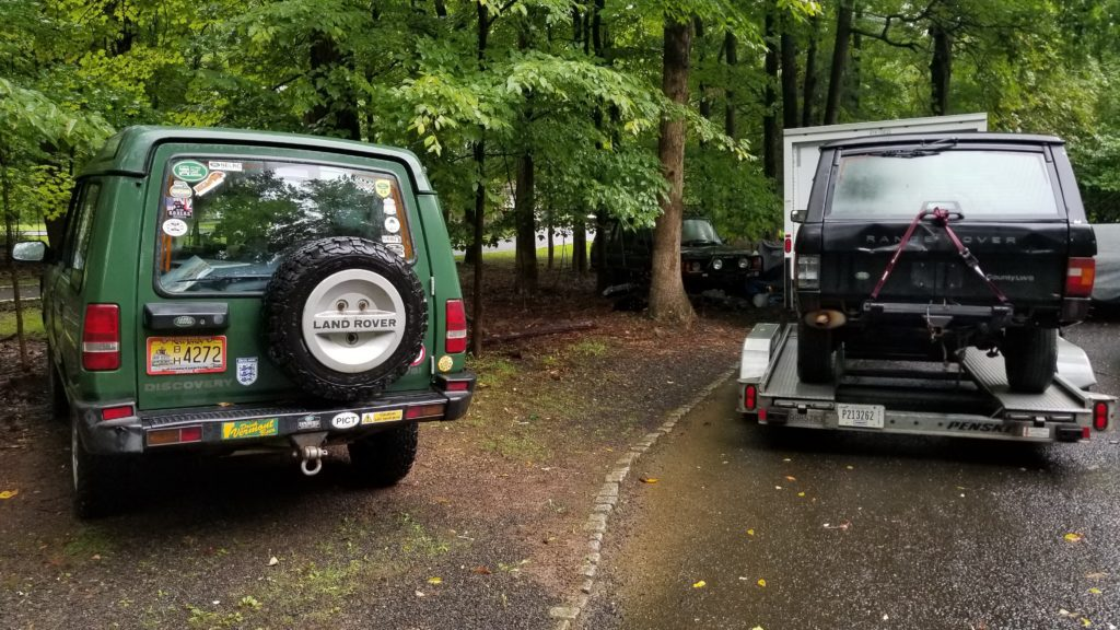 My full Land Rover fleet in my driveway. Duncan, my Discovery 1; Spenny, my 1993 Range Rover; and Butler, my 1994 Range Rover.